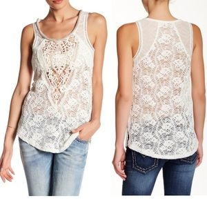 Miss Me Ivory Lace Embelished Tank Top Size Small